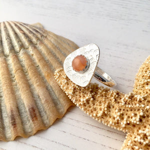 Peach Moonstone Gemstone Ring