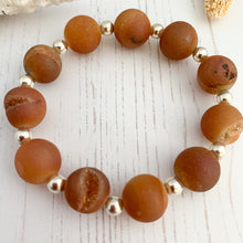 Load image into Gallery viewer, Gold Druzy Crystal Agate Bracelet
