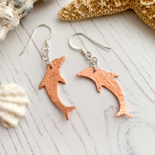 Load image into Gallery viewer, Copper Dolphin Dangle Earrings