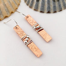 Load image into Gallery viewer, Copper Rectangle Earrings with Silver Beads
