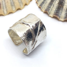 Load image into Gallery viewer, Wide Rustic Sterling Silver Ring