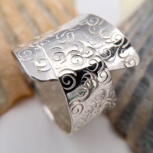 Sterling Silver Patterned Statement Ring