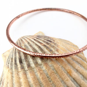 Line Hammered Copper Stacking Bangle