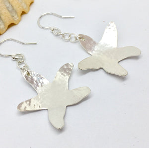 Hammered Sterling Silver Starfish Earrings