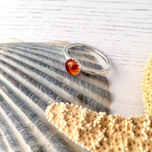 Load image into Gallery viewer, Sterling Silver Amber Stacking Ring