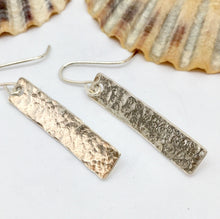 Load image into Gallery viewer, Copper Bar Earrings with Silver Layer