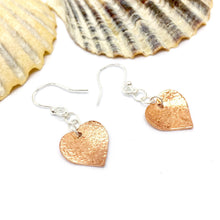 Load image into Gallery viewer, Textured Copper Heart Earrings