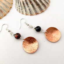 Load image into Gallery viewer, Copper Disc and Burnt Orange Glass Bead Earrings