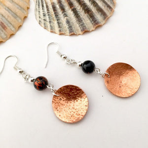 Copper Disc and Burnt Orange Glass Bead Earrings