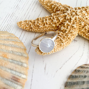 Silver and Blue Lace Agate Stacking Ring