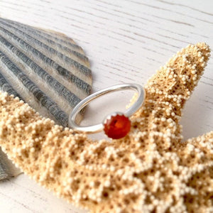Sterling Silver Amber Stacking Ring