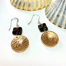 Load image into Gallery viewer, Hammered Copper Disc Earrings