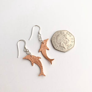 Copper Dolphin Dangle Earrings