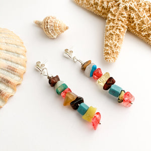Semi Precious Mixed Gemstone Stud Earrings