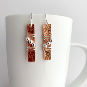 Copper Rectangle Earrings with Silver Beads