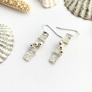 Sterling Silver Bar Earrings with Bead Detail