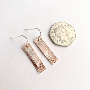 Copper Bar Earrings with Silver Layer