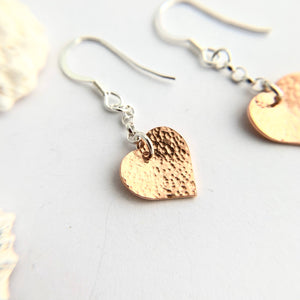 Copper Heart Hammered Earrings