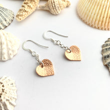 Load image into Gallery viewer, Copper Heart Hammered Earrings