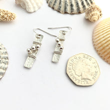 Load image into Gallery viewer, Sterling Silver Bar Earrings with Bead Detail