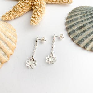 Sterling Silver Flower Stud Dangle Earrings