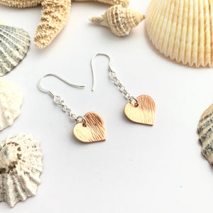 Copper Hammered Heart Earrings