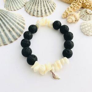 Mother of Pearl and Lava Stone Leaf Charm Bracelet