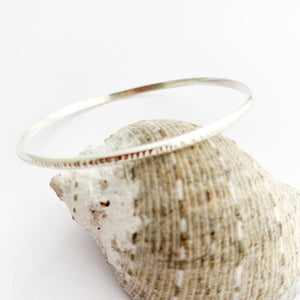 Hammered Minimalist Sterling Silver Bangle