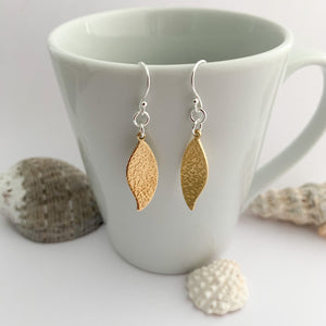 Hammered Brass Leaf Textured Earrings