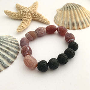 Red Brown Fire Agate and Black Lava Bead Gemstone Bracelet