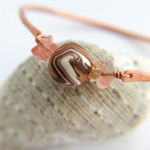 Load image into Gallery viewer, Slim Copper and Cherry Quartz Bangle