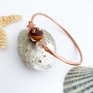 Slim Copper and Cherry Quartz Bangle