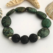 Load image into Gallery viewer, Green African Jasper Gemstone Diffuser Bracelet