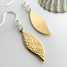 Load image into Gallery viewer, Hammered Brass Leaf Textured Earrings