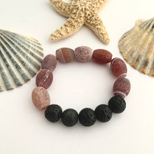 Load image into Gallery viewer, Red Brown Fire Agate and Black Lava bead Gemstone Bracelet