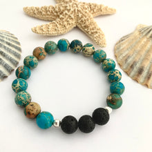Load image into Gallery viewer, Aqua Blue African Jasper and Lava Bead Bracelet