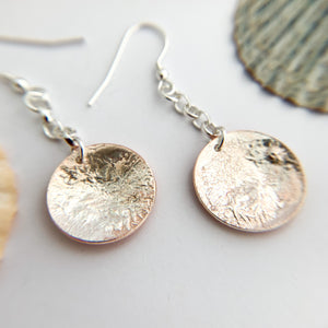 Copper and Sterling Silver Circle Shape Earrings
