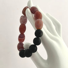 Load image into Gallery viewer, Red Brown Frie Agate and Black Lava Bead Gemstone Bracelet