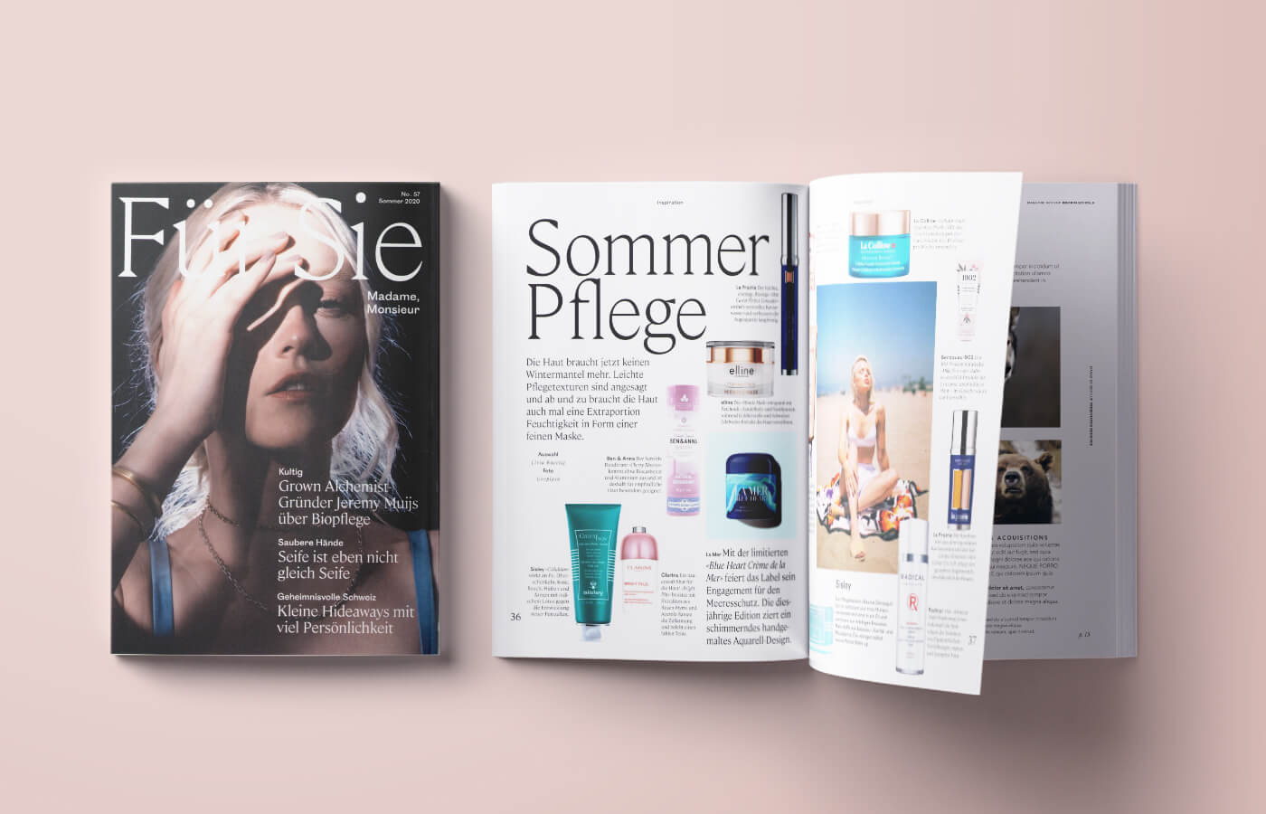 Fur Sie magazine about elline products - article sommer pflege