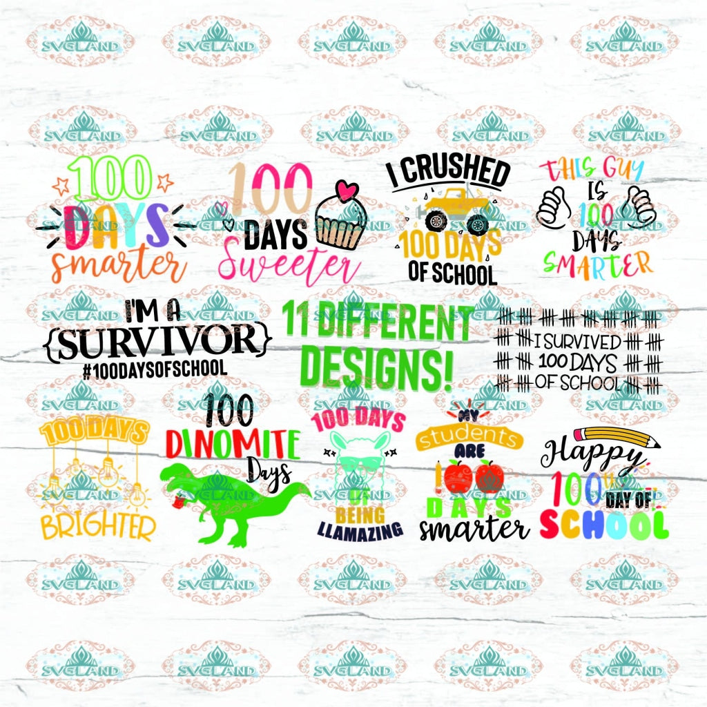 100 Days Of School Bundle Cut Files Days Brighter Smarter Sweeter Svg Dxf Eps Png Silhouette Digital