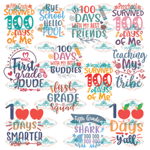 100 Days Of School Bundle Svg For Cricut Silhouette Smarter Svg Digital
