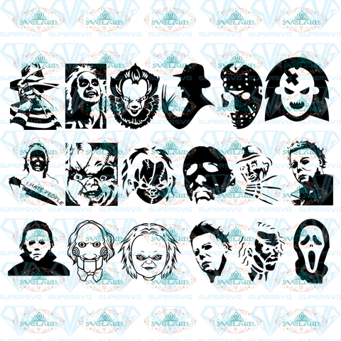 18 Horror Movie Villain Svg Halloween Characters Silhouette Chucku Freddy Krueger Friday 13Th