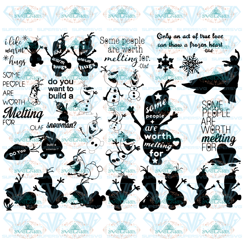 35 Olaf Silhouette Svg Frozen Disney Snowman Clipart Some People Are Worth Melting For Digital