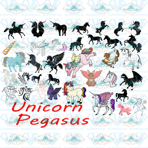 36 Unicorn Pegasus Collection Vectors Svg Unicorn Bundle File Svg Digital