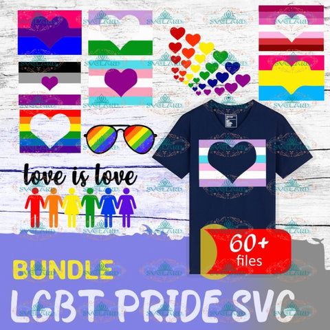 60+LGBT Pride SVG Bundle, files for cricut, Svg, Png, Dxf, Eps