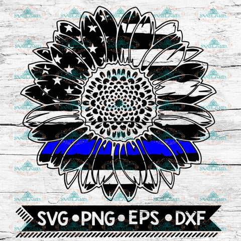 American sunflower, Thin Blue Line svg, thin blue line svg, police svg, blue lives matter, Svg
