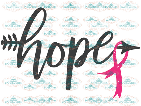 Arrow Hope Cancer Ribbon Svg Breast Dxf Eps For Cricut Awareness Digital