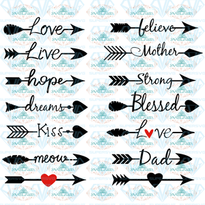 Arrow Words Svg Arrows Word Svg Love Arrow With Heart Arrows Svg Strength Love Dxf Digital