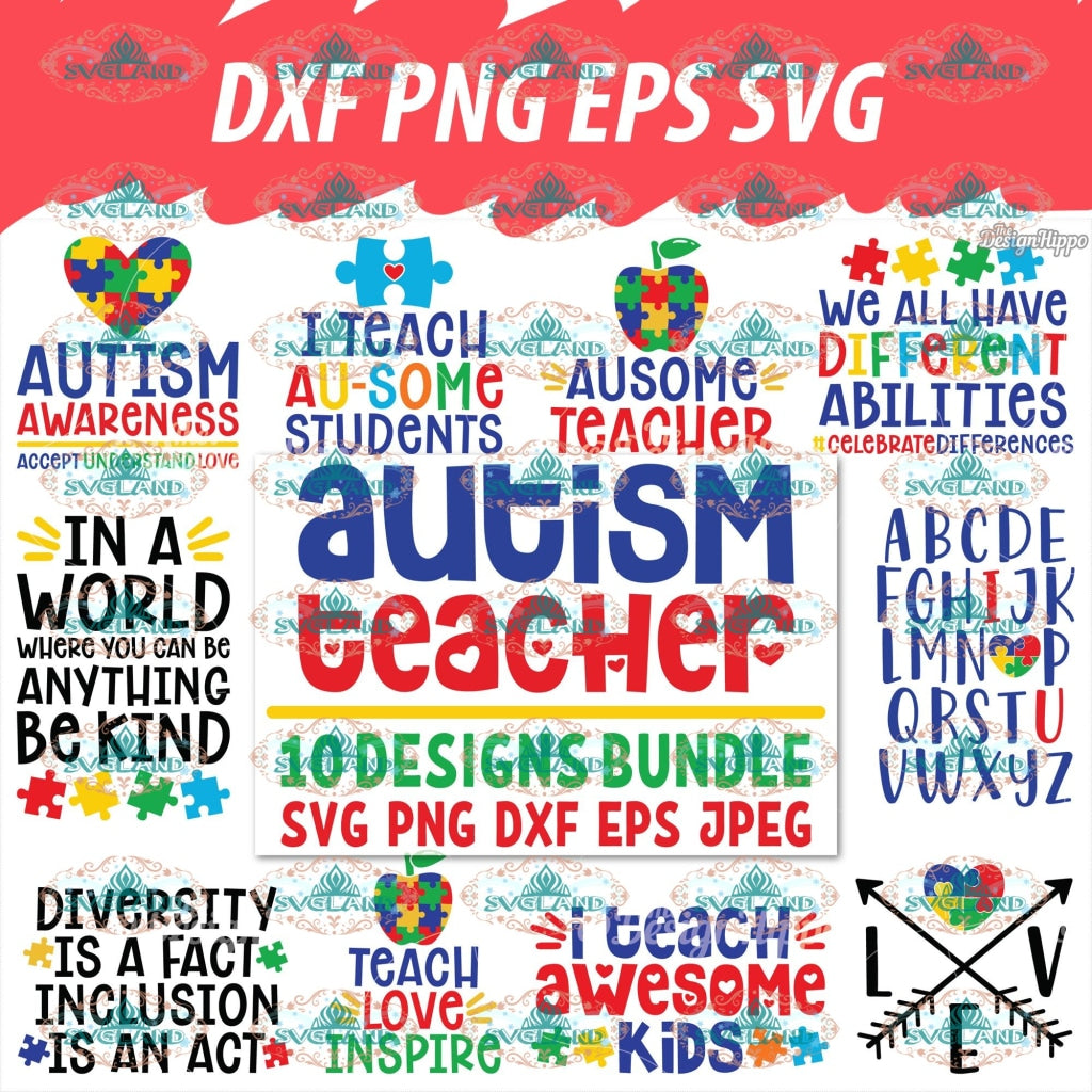 Autism Svg Bundle Teacher Awareness Puzzle Piece Heart Digital