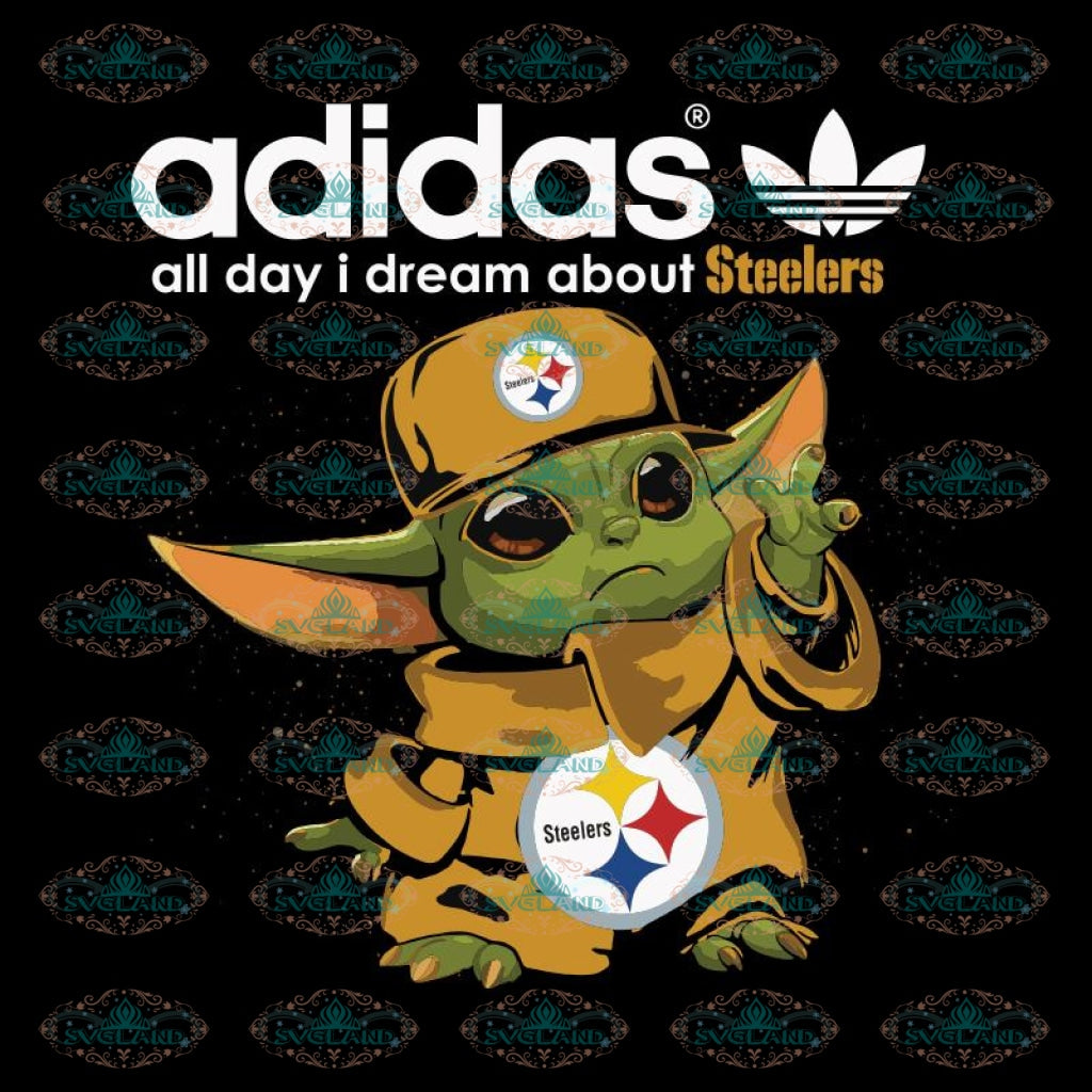 Baby Yoda adidas all day i dream about Pittsburgh Steelers Svg, Cricut File, Clipart, Sport Svg, Football Svg, Love Football Svg, Png, Eps, Dxf